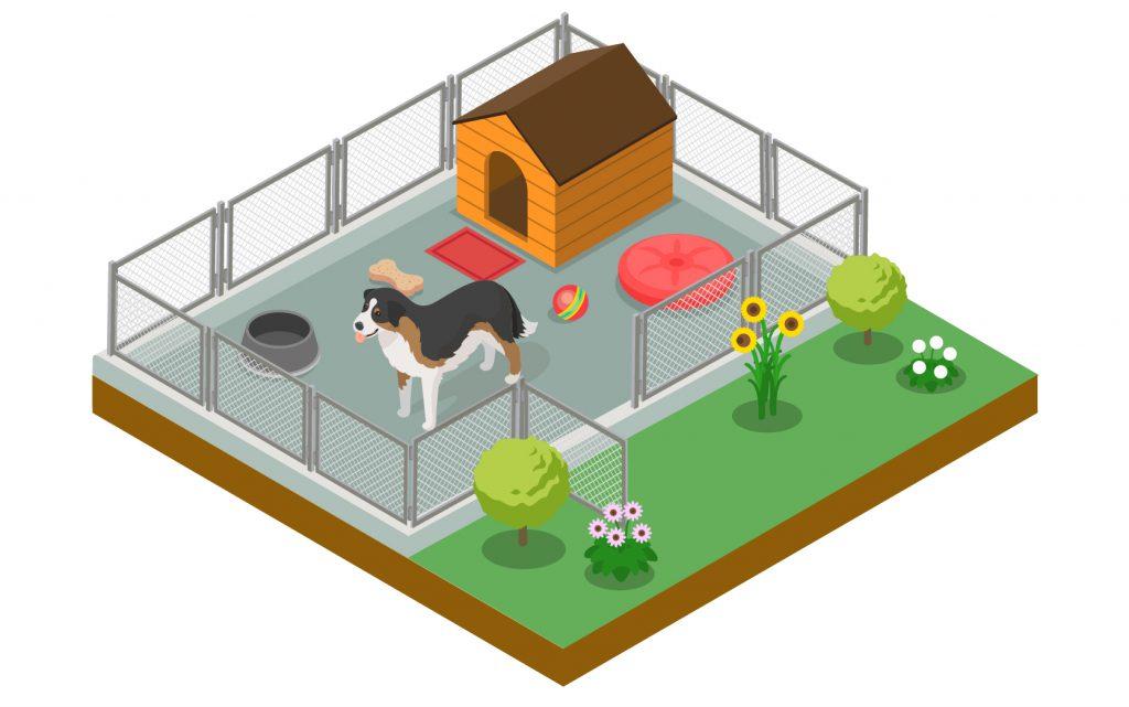 Concrete base for a dog kennel illustration