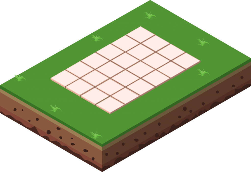 Illustration of a concrete base with paving slabs for a shed