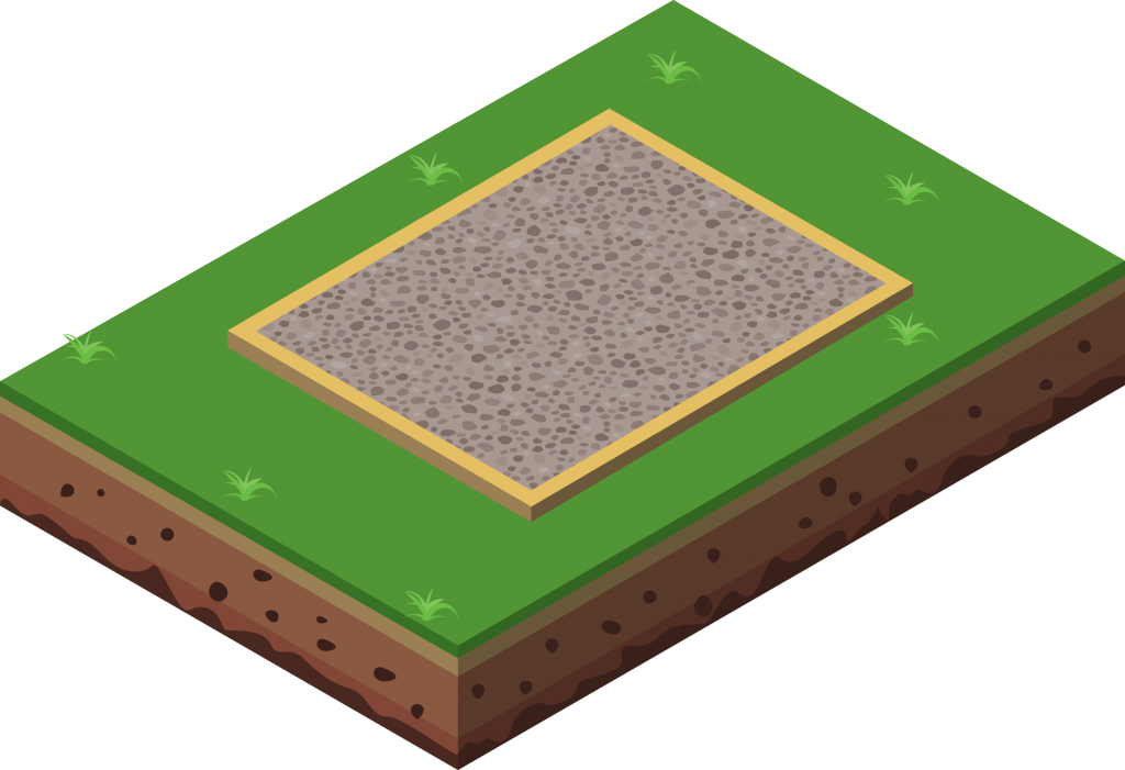 illustration of a concrete base with gravel for a shed.