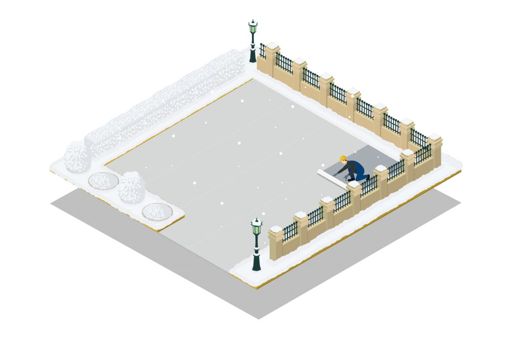 Illustration of Concrete Yard in Cold Weather
